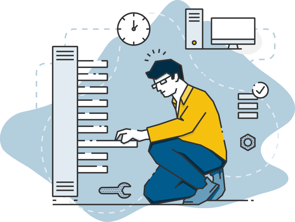 Stepping Forward Technology, IT support Colorado Springs - technician fixing server graphic